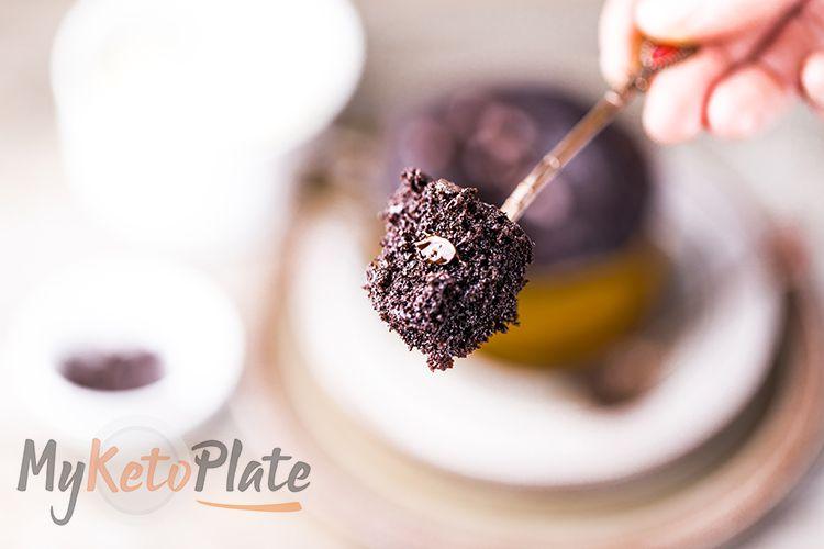 Chocolate Keto Mug Cake ready in 90 seconds - MyKetoPlate