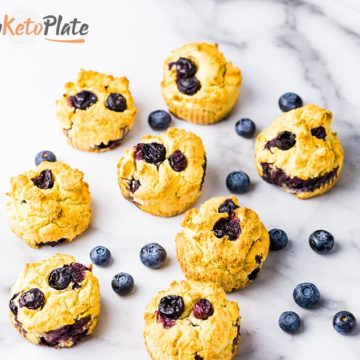 Keto Paleo Blueberry Scones with Lemon Coconut Frosting