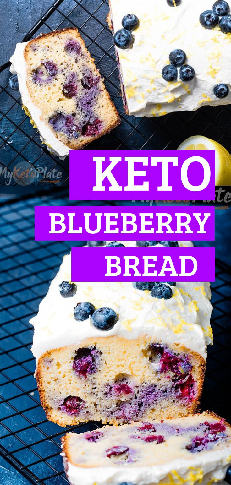 This easy keto blueberry pound bread is super soft, moist and fluffy. Enjoy a gluten-free, grain-free, low carb blueberry bread that's easy to make, filled with juicy blueberries and topped with a delicious sugar-free lemon cheesecake glaze.