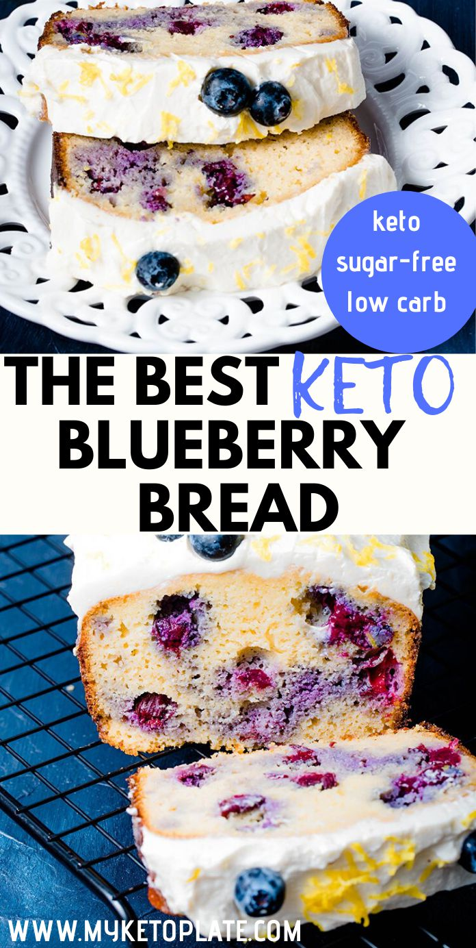 Easy Keto Blueberry Bread with Lemon Cheesecake Frosting