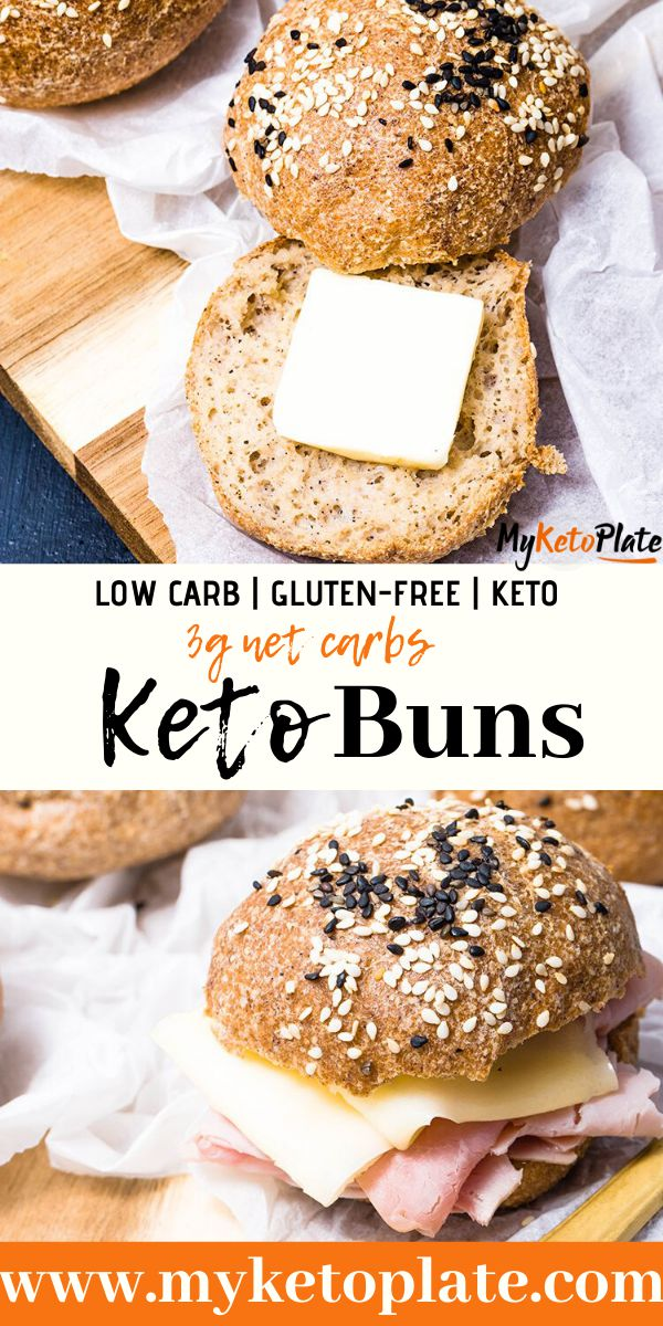 These keto buns are perfect for sandwiches, the perfect low carb bread. Made with almond flour and psyllium husk, you can enjoy bread on keto. This recipe doesn\'t involve lots of kneading the dough, and it\'s ready in about 20 minutes! #ketobread