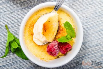 y favorite dessert: creme brulee topped with fresh berries and mint.