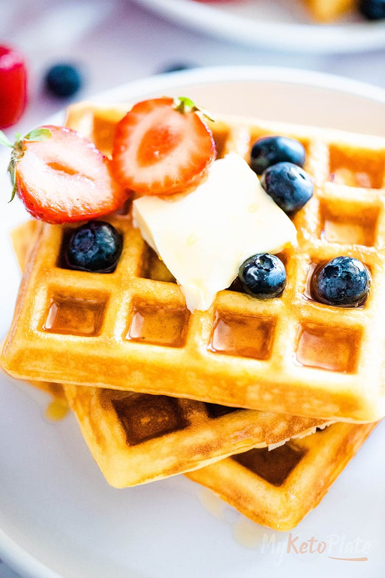 best grain free waffles with fresh berries and butter