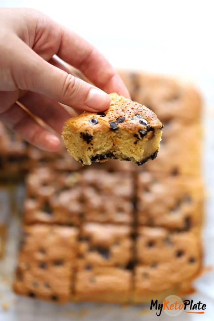 keto blondies square hold in hand